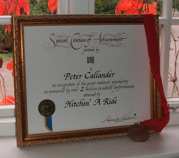 Special Citation of Achievement from BMI for Hitchin' A Ride