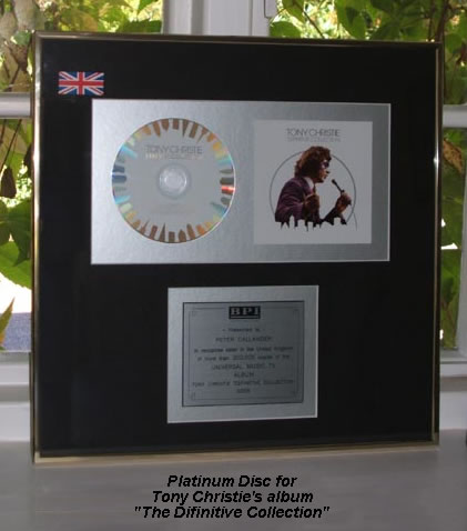 "Platinum Disc for Tony Christie's ""The Difinitive Collection"""